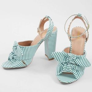 Qupid white and green striped bow heels
